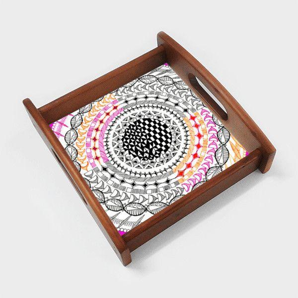 Colourful Geometric Mandala Serving Tray   Artist : Amulya Jayapal   PosterGully