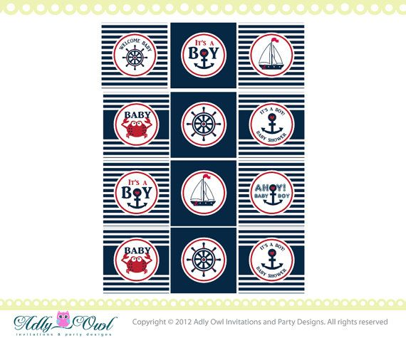 Nautical Baby Shower Cupcake ToppersFavor by adlyowlinvitations