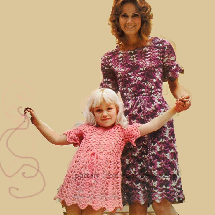WZ380 This pretty dress looks lovely on the child-same about the ghastly space dyed yarn obscuring the lace on Mum's dress.
