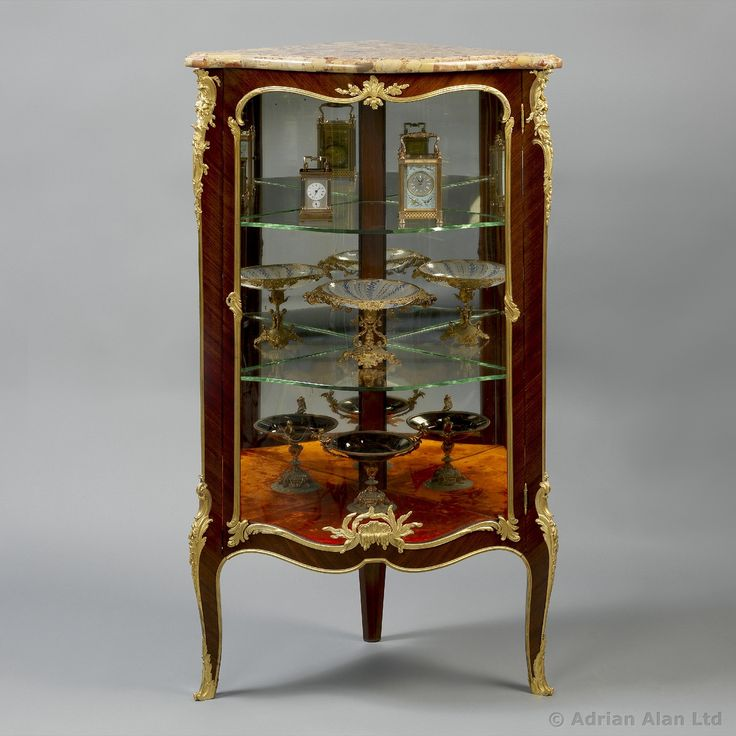 A Louis XV Style Petit Corner Vitrine, with a Brèche d'Alep Marble Top.  Classic FurnitureAntique French ... - 14 Best Fine Antiques #Vitrines Images On Pinterest Bronze