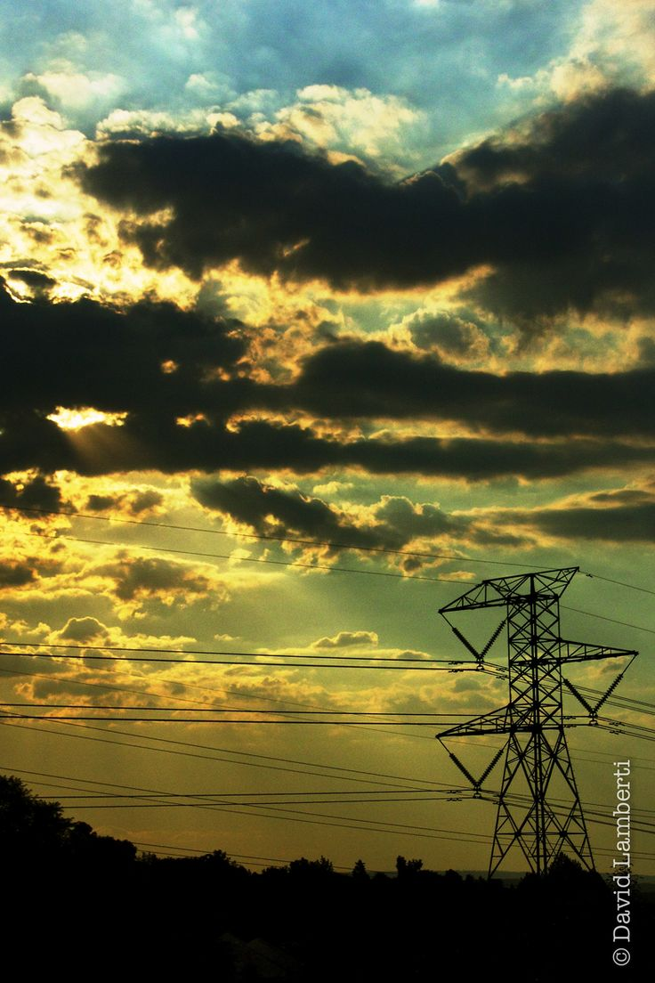 Sunset Through Power Lines 2 by David Lamberti on 500px
