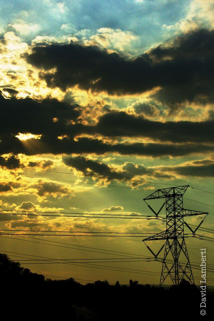 Sunset Through Power Lines 2 by David Lamberti on 500px