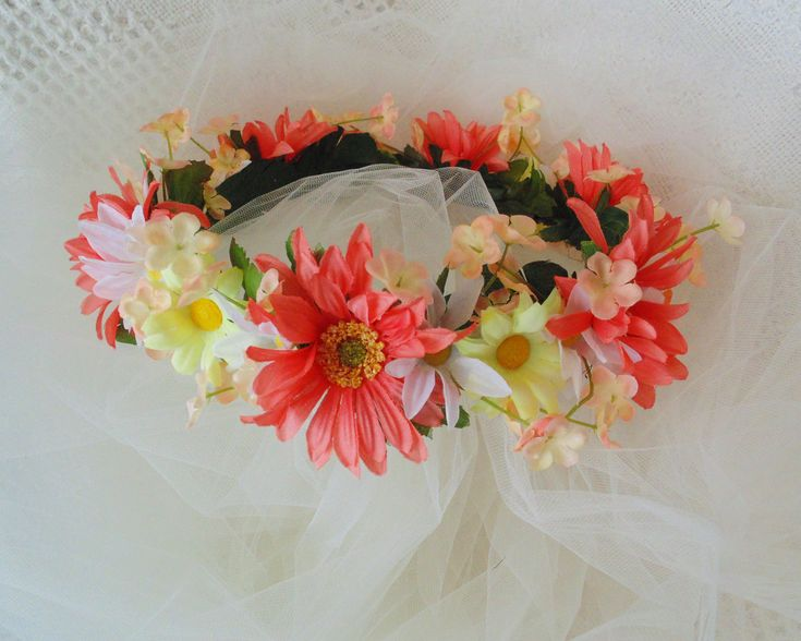 Spring Daisy Mix Flower Crown, Coral/ Yellow/White Flower Tiara, Renaissance Crown, Wedding Party Tiara, Baby Shower Crown by BunniesMadeOfBread on Etsy