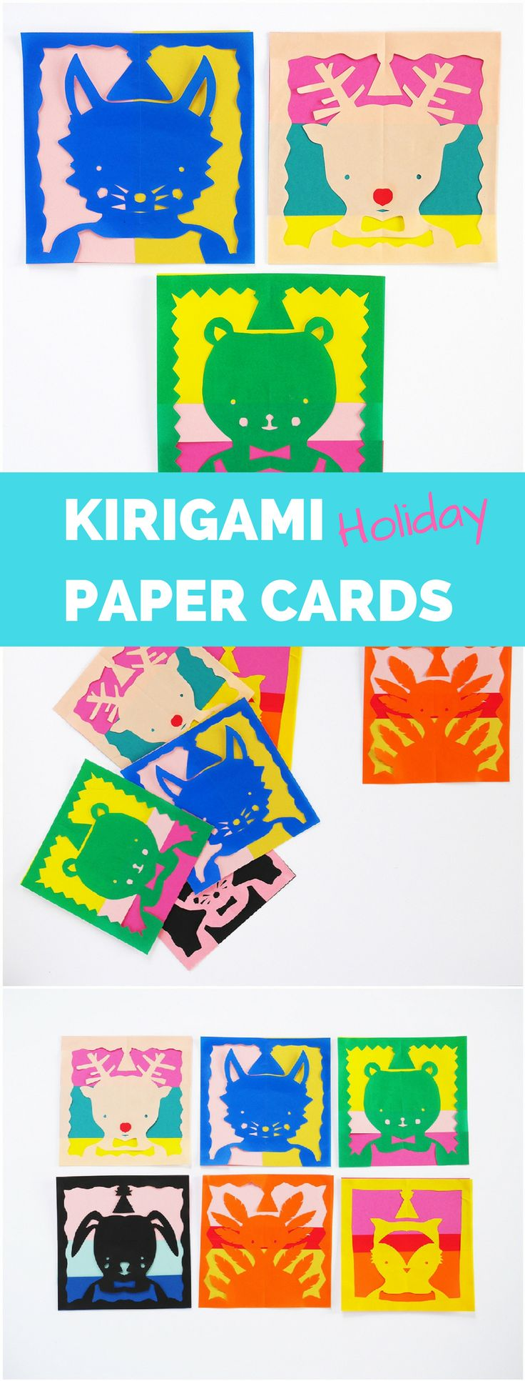 Make cute holiday Kirigami Animal Paper Cards. DIY included #kirigami #christmascrafts #christmascraftsforkids #origamiart