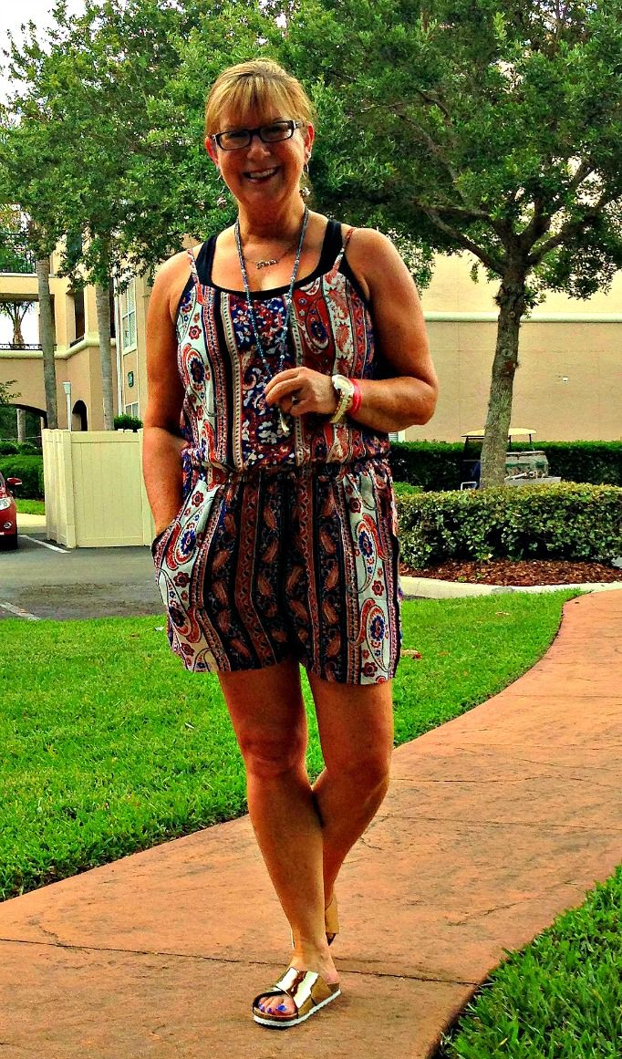 Romwe Romper, Old Navy Chambray, Target Sandals, Carnival Fedora,   Necklace from Eternal Jewellery, Cross body- Coach