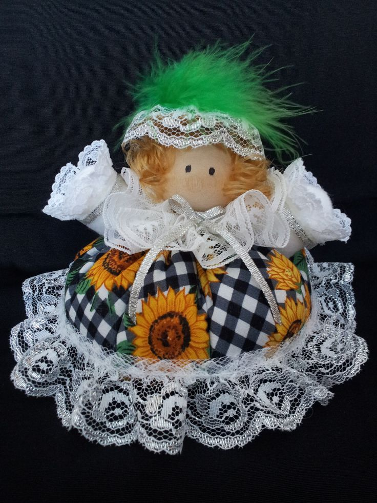 The Country Belle. Collectable Pin Cushion Doll. Material: Cotton & Lace. $25.00CAD + S/H if applicable. $0.00 Tax. Please contact Nola at: https://www.facebook.com/elegantcreationsbynola for purchase
