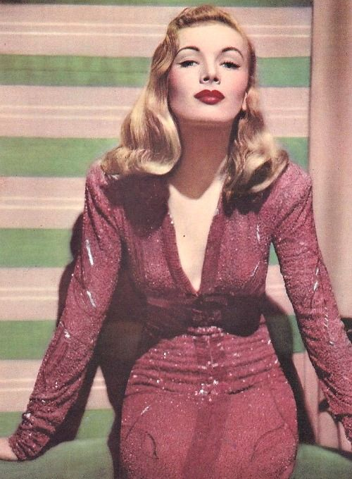 "Veronica Lake in ""I Wanted Wings"" [1941] 40s vintage fashion icon movie star red beaded dress sequins showgirl starlet evening gown long sleeves"