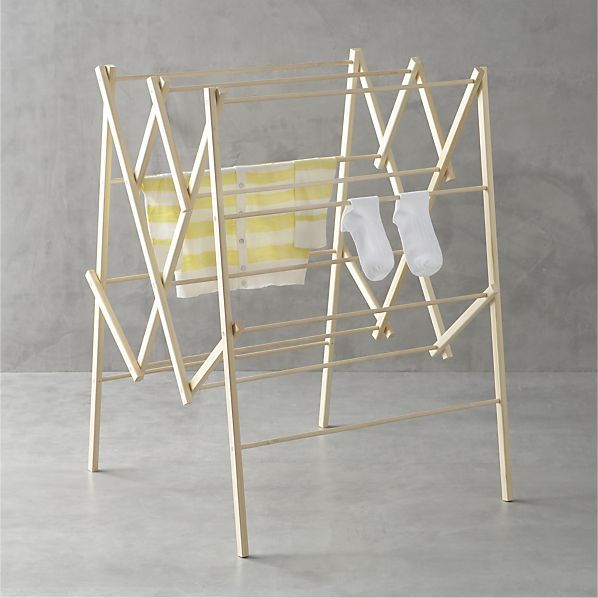 Large Wood Drying Rack Crate And Barrel Get Organized