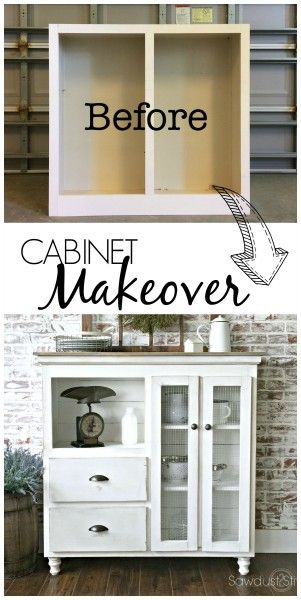 Here is an amazing cabinet Makeover with step-by-step pictures by sawdust 2 stitches