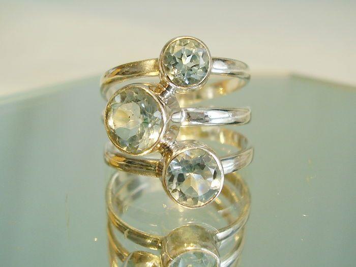 Online veilinghuis Catawiki: Blauwe topaas-ring, goudsmidswerk met blauwe topaas (hemelsblauw).