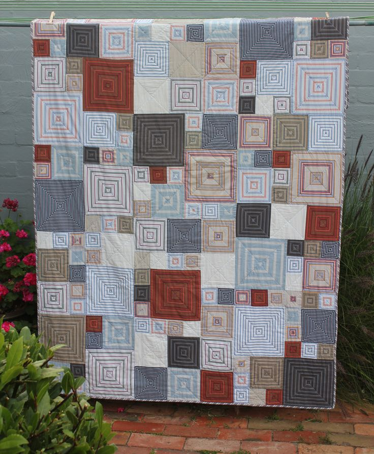 Quilt Patterns From Men S Shirts : I made this quilt for my son using pre- loved men s striped shirts. This is a design by Kaffe ...