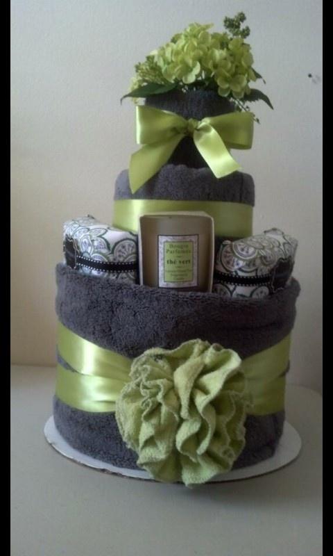 Towel cake.                                                                                                                                                                                 More