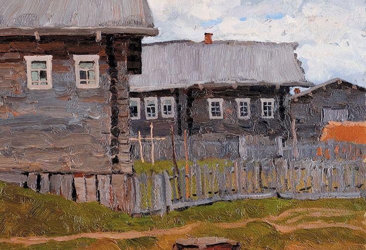 Владимир Стожаров (1926 - 1973). Ветреный день, 1969 г. Масло, бумага на картоне, фрагмент.
