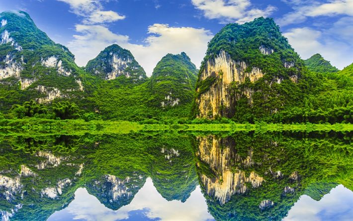 Download wallpapers Bamboo, forest, jungle, mountains, rocks, lake, China