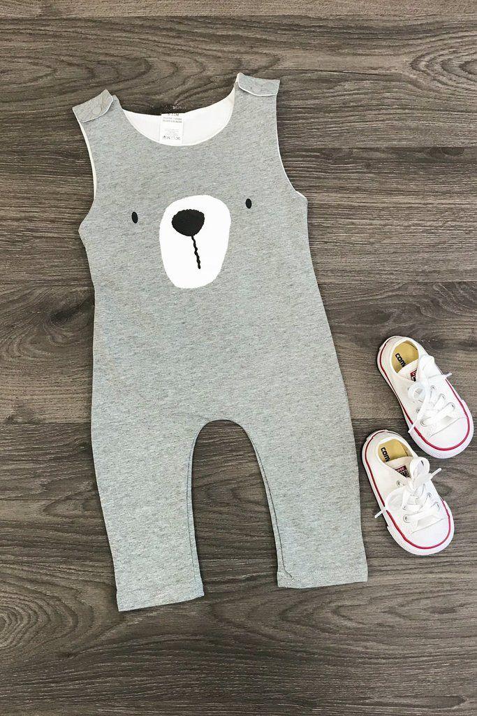 Gray Bear Infant Romper