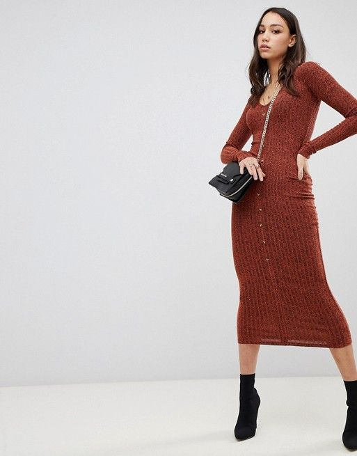 3815c5a2b DESIGN Tall marl rib button through midi dress in 2019 | Nastassia's ...