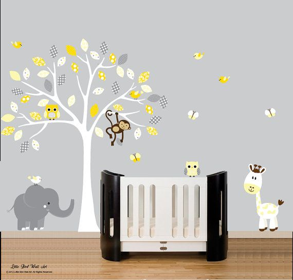 Childrens white tree owl wall decal jungle by Littlebirdwalldecals, $120.00