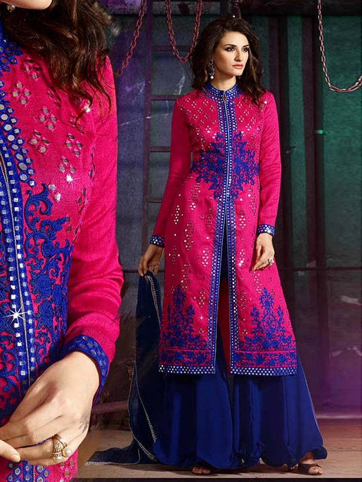 Entirely different looking outfit with fashionable staple.  Item Code: SLKE30871 http://www.bharatplaza.com/new-arrivals/palazzo-suits.html