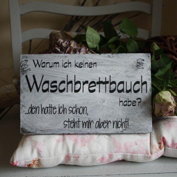 Shabby Chic Holzschild - Waschbrettbauch