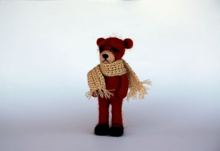 Needle felted animals. Cute small sad bear. Miniature animals. Interiors toy. by donidinadya on Etsy