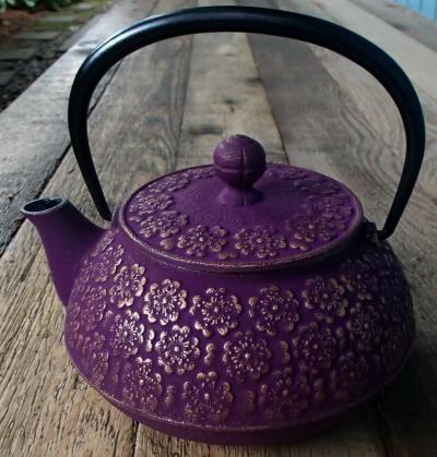 Japanese Tetsubin Cast Iron Teapot - Plum Purple Sakura Blossoms $88