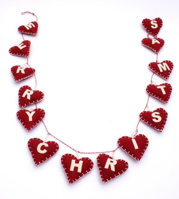 Merry Christmas Felt Hanging Hearts String