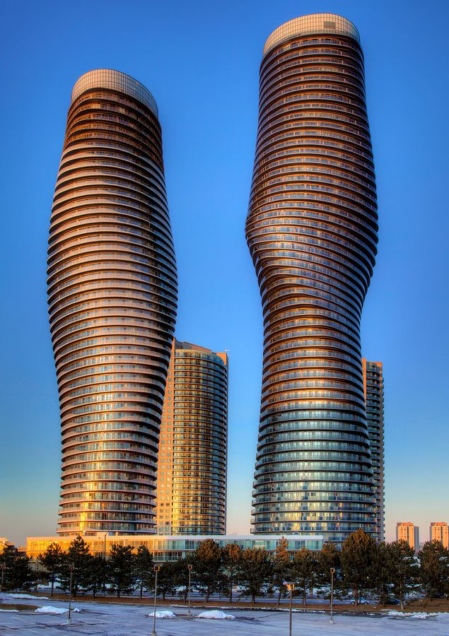 Nick-named, the Marylin Monroe Towers. Absolutely World is a residential condominium twin tower skyscraper complex in the five tower Absolute City Centre development in Mississauga, Ontario. The project is being built by Fernbrook Homes and Cityzen Development Group.
