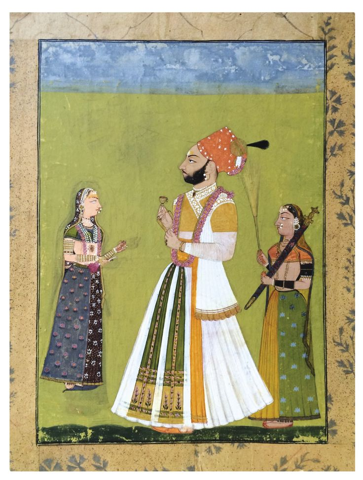 RATHOR MAHARAJA JAGAT SINGH AND HIS CONSORT WEAR FLOWER GARLANDS. Opaque watercolor heightened with gold on paper, Rajasthan, Marwar, possibly Ghanerao, first half of the 18th century, Raja Jagat Singh stands strikingly upright holding a small gold cup.  He wears a flowing white muslin pleated jama and ankle-length patka (sash) and brilliant cinnabar-red Rathor pagri (turban).  He wears a mauve mala (garland) of blossoms around his neck.  ....