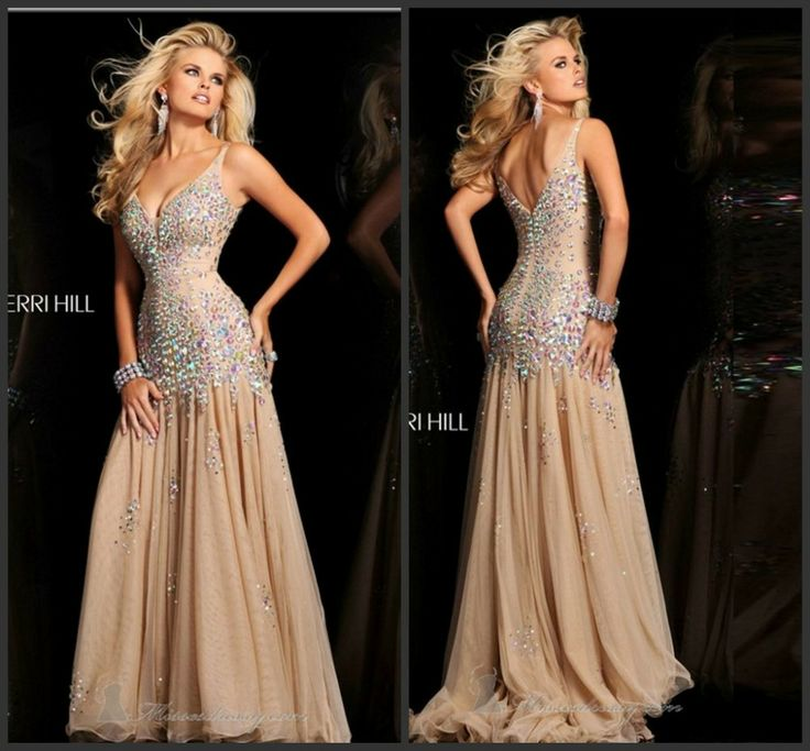 Hot Sale Free Shipping 2013 New Arrival Evening Grown With Heavy Crystals Rhinestone Glamorous V-Neck Chiffon Long Prom Dresses $175.58