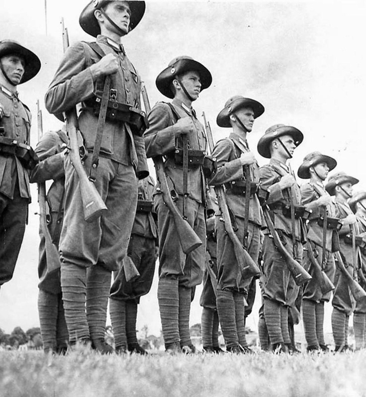 Dutch colonial infantry on parade in present day Indonesia shortly before the Japanese invasion in 1942. Their resistance was token.