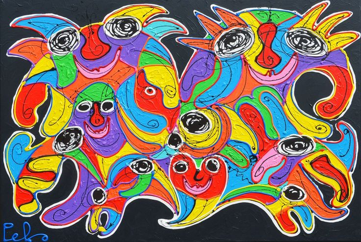 Dit is een: Acrylverf dik, titel: 'Sensation' kunstwerk vervaardigd door: Peko