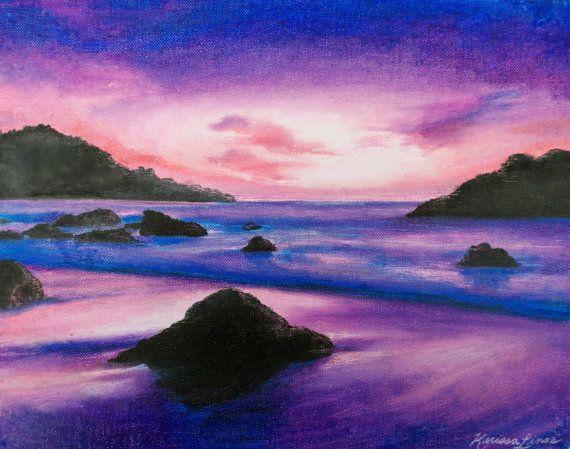 Purple ocean sunset seascape beach waves by KViebeckOriginalArt, $250.00