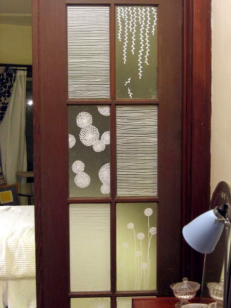 Super Smart, DIY window covering/privacy sheers, with custom designs using contact paper and a paint pen.  For Bean's room?