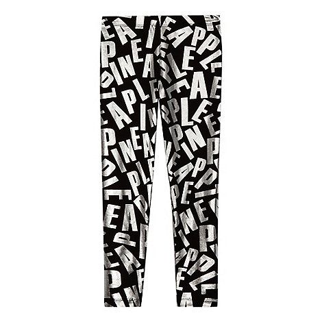 Pineapple Girls' black foil logo print leggings | Debenhams
