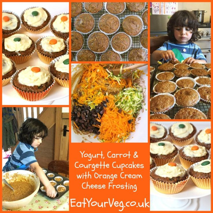 Eat Your Veg   Yogurt, Carrot & Courgette Cupcakes with Orange Cream Cheese Frosting