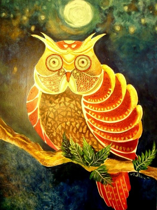 """oil painting by Mevce Dilara Toprak  """"confused owl """"  2011 80x60 (sold)"""