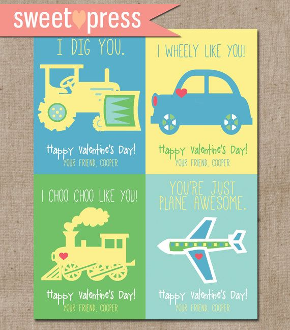 Custom Valentines Cards for boys... print at home and cut yourself! $5.00 on etsy #valentines #cards #kids