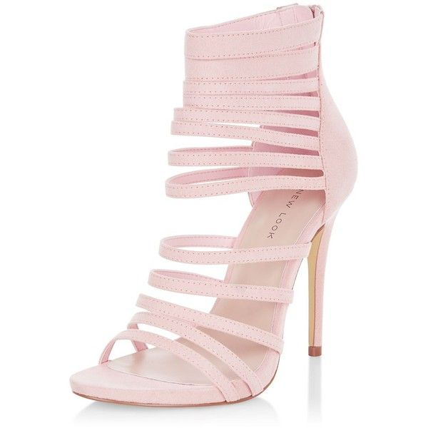 Pink Suedette Strappy Heels (692.140 IDR) ❤ liked on Polyvore featuring shoes, sandals, pink, pink high heel shoes, pink strappy sandals, pink shoes, strappy high heel shoes and strappy sandals