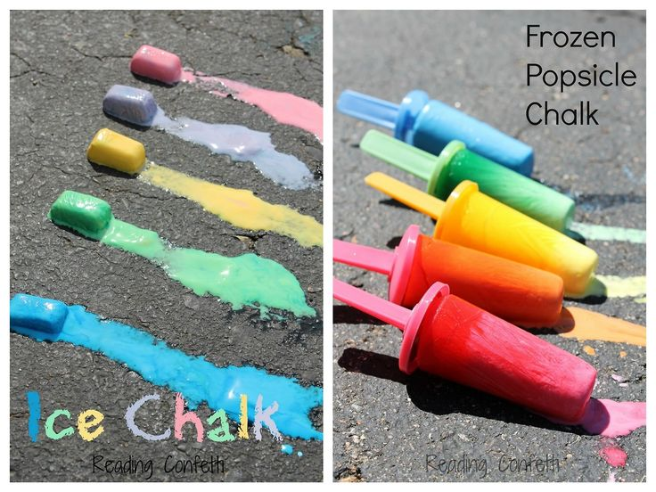 DIY ice chalk. Ice lolly mould or ice cube tray, fill it up with cornstarch water and food colouring.