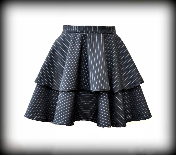 Black Gothic Lolita circle skirt Double layer by Blackpassion