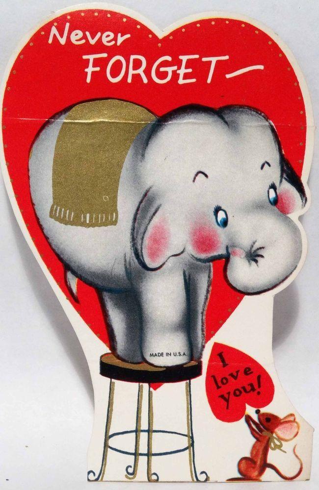 Best 106 Vintage Elephant Cards images – Elephant Valentines Card