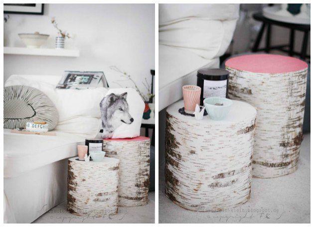 Træstubbe som små borde – med detaljer af farver… - Tina Dalbøges kreative påfund