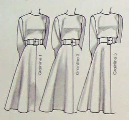 sewing tip: where you put the grainline of the fabirc affects the flare of the skirt.