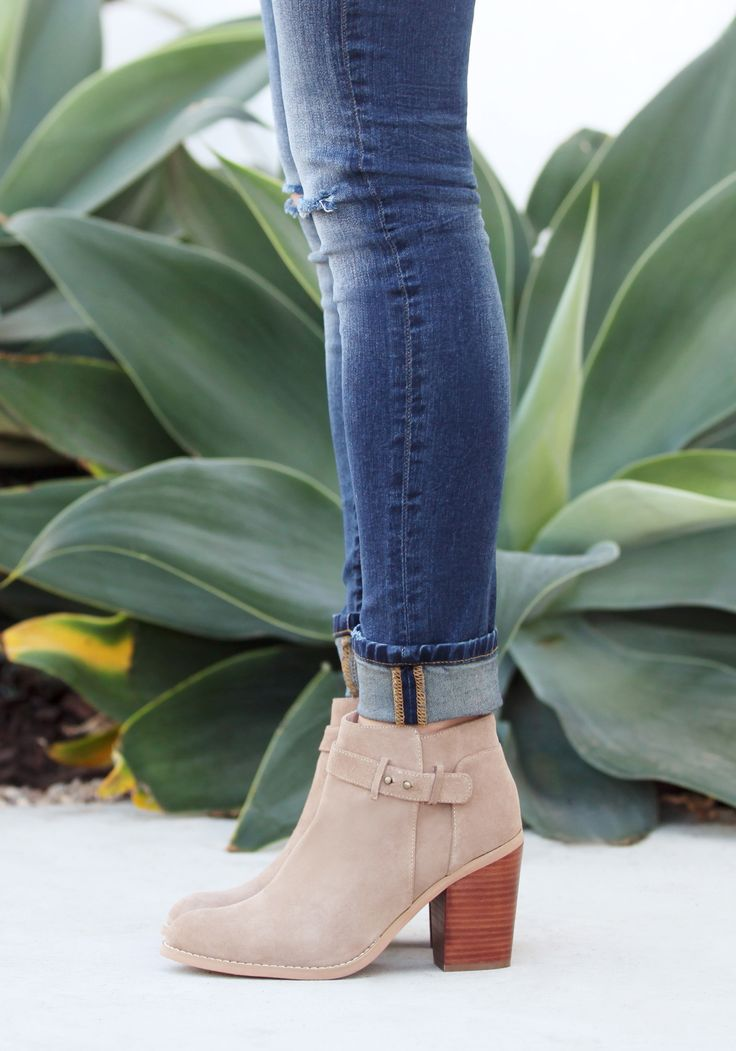 Taupe suede block heel bootie with buckle detailing at the ankle | Sole Society Lyriq