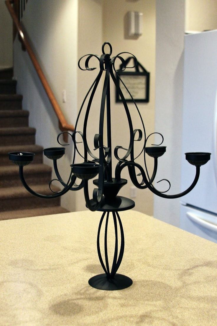 DIY Tabletop Candelabra from Goodwill chandelier and candle stand