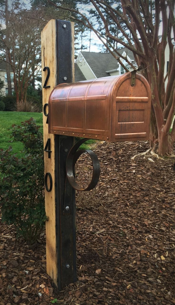 Custom, rustic oak, Corten steel and copper mailbox