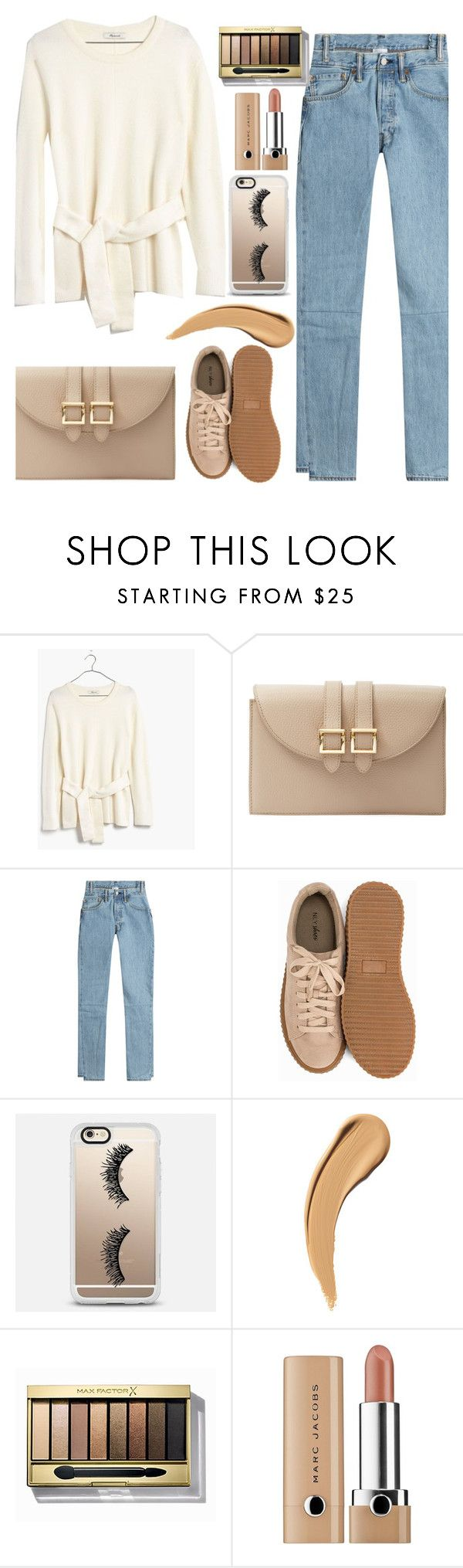 """Nudes.Nudes and More Nudes"" by felicitysparks ❤ liked on Polyvore featuring Madewell, Meli Melo, Vetements, Nly Shoes, Casetify and Max Factor"