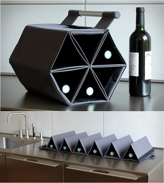 This wine carrier doubles as a wine rack. Perfect for those trips to the south of France.