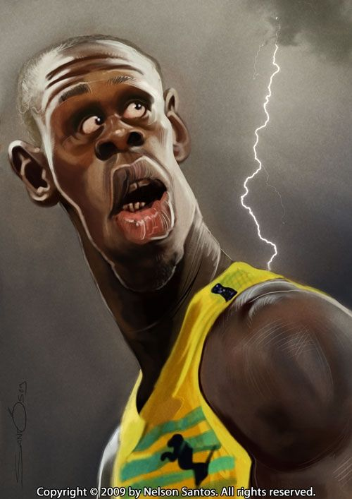 Usain Bolt FOLLOW THIS BOARD FOR GREAT CARICATURES OR ANY OF OUR OTHER CARICATURE BOARDS. WE HAVE A FEW SEPERATED BY THINGS LIKE ACTORS, MUSICIANS, POLITICS. SPORTS AND MORE...CHECK 'EM OUT!! Anthony Contorno Sr