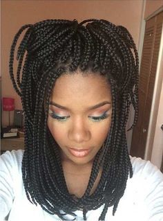 Small, Medium Length Box Braids